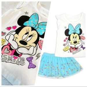 🆕 Girl's Minnie Mouse 2 PC Tulle Skirt Set 3T